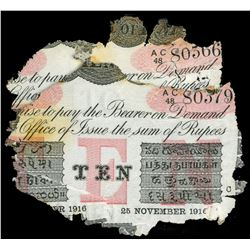 Lot of two Calcutta, British India, 10 rupees, 25-11-1916, series AC 48, each laminated with wreck i