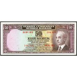 Turkey, Central Bank, 50 kurus, 11-6-1930, series B5, serial 104416.