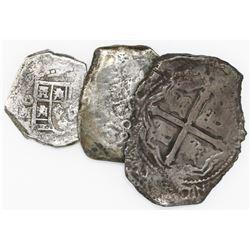 Lot of three Mexican silver cobs from various wrecks: 8R oMP Maravillas (1656); 8R 1732F 1733 Fleet;