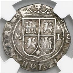 """Mexico City, Mexico, 1 real, Charles-Joanna, """"Late Series,"""" assayer L to right, mintmark M to left ("""