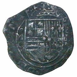 Mexico City, Mexico, cob 4 reales, Philip II, assayer O below mintmark oM to left (oMO).