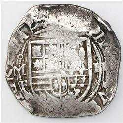 Mexico City, Mexico, cob 4 reales, Philip II, assayer F below mintmark oM to left (oMF), denominatio