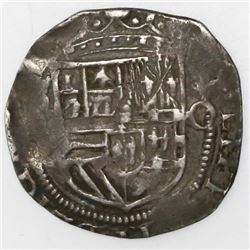 Mexico City, Mexico, cob 1 real, Philip II, assayer O to right, mintmark oM to left (not visible).