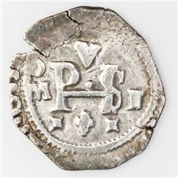 Mexico City, Mexico, cob 1/2 real, Philip III, assayer F.