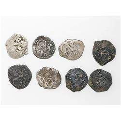 Lot of eight Lima, Peru, cob 1/2R, as follows: 1685, 1695, 1697, 1698, 1699, 1700, 1701 and 1727.