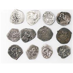Lot of twelve Lima, Peru, cob 1/2R, all dated, as follows: 1684 (3), 1693, 1699, 1700 (2), 1704, 172