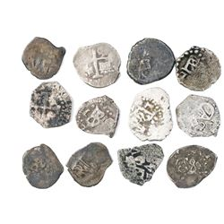 Large lot of 23 Lima, Peru, cob 1/2R, various periods (Charles II through Ferdinand VI), dates parti