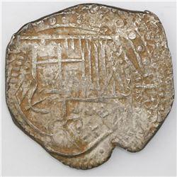 Potosi, Bolivia, cob 8 reales, Philip IV, assayer not visible (style of 1629T, denomination 8, fine-