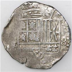 Potosi, Bolivia, cob 8 reales, Philip IV, assayer not visible (ca. 1640).