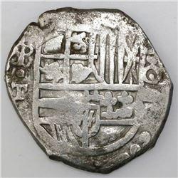 Potosi, Bolivia, cob 4 reales, Philip IV, assayer T (mid-1620s).