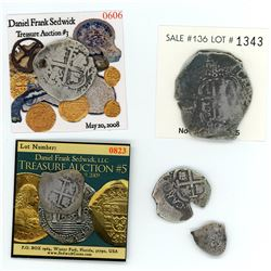Denomination set of Potosi, Bolivia, cob 8-4-2-1-1/2 reales, 1690VR.