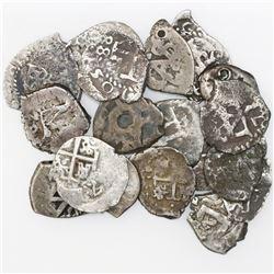Lot of eighteen Potosi, Bolivia, cob 1/2R, Philip IV through Charles III, various dates (where visib