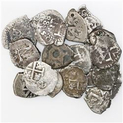 Lot of eighteen Potosi, Bolivia, cob 1/2R, Philip IV through Charles III, various dates (where visib
