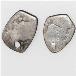 Lot of two Guatemala cob 1/2R: 1734J and 1744J.