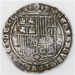 Toledo, Spain, 1 real, Ferdinand-Isabel, mintmark T to right, five dots in cross-shape to left of sh