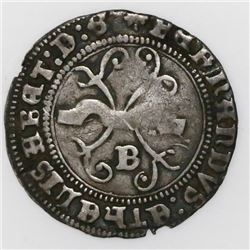 Burgos, Spain, 1/2 real, Ferdinand-Isabel, mintmark B below yoke, daggers at tops.