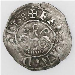 Segovia, Spain, 1/2 real, Ferdinand-Isabel, aqueduct mintmark and three circlets below yoke.