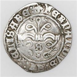 Seville, Spain, 1/2 real, Ferdinand-Isabel, mintmark S and * below yoke.
