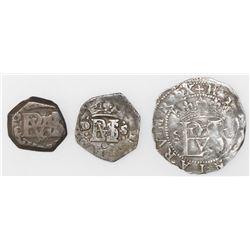 Lot of three Spanish cob 1/2R: Seville, Philip II, assayer Gothic D; Seville, 162(7?)D; Madrid, 165(