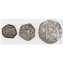 Lot of three Spanish cob 1/2R: Seville, Philip II, assayer Gothic D; Seville, 162(7?)D; Madrid, 165(