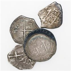 Lot of four Spanish / Spanish colonial cob 1R, various mints and periods: Mexico Charles-Joanna M-L;
