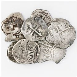 Lot of seven Spanish colonial cob 1R and 1/2R, various mints and periods.