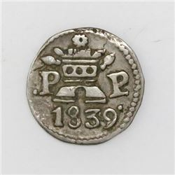 Cordoba, Argentina, 1/4 real, 1839PP.