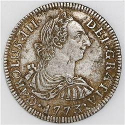 Potosi, Bolivia, bust 2 reales, Charles III, 1773JR.