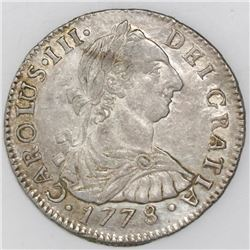 Potosi, Bolivia, bust 2 reales, Charles III, 1778PR.