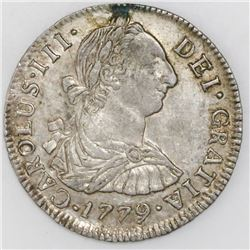 Potosi, Bolivia, bust 2 reales, Charles III, 1779PR.