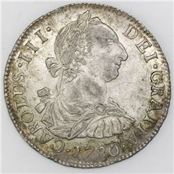 Potosi, Bolivia, bust 2 reales, Charles III, 1780PR.