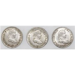 Lot of three Potosi, Bolivia, bust 1/2R, Ferdinand VII, assayer PJ, dated 1822, 1823 and 1824.