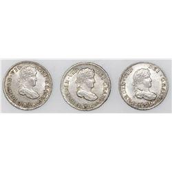Lot of three Potosi, Bolivia, bust 1/2R, Ferdinand VII, assayer PJ, dated 1822, 1823 and 1824.