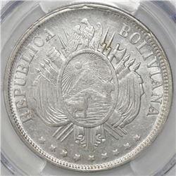 Potosi, Bolivia, 1 boliviano, 1873FE, PCGS AU58.