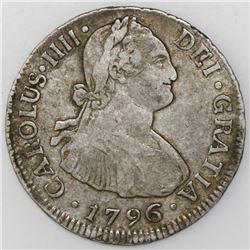 Santiago, Chile, bust 2 reales, Charles IV, 1796DA.