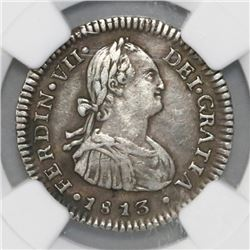 Santiago, Chile, bust 1 real, Ferdinand VII (bust of Charles IV), 1813FJ, NGC XF 40.