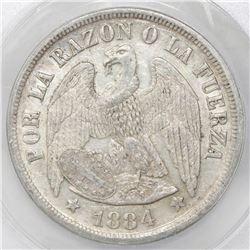 Santiago, Chile, 1 peso, 1884, ANACS AU 50.