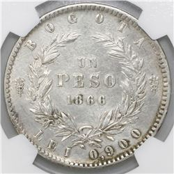 Bogota, Colombia, 1 peso, 1866, NGC AU details / excessive surface hairlines.
