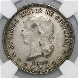 Bogota, Colombia, 5 decimos, 1868, NGC XF details / surface hairlines.