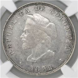 Bogota, Colombia, 50 centavos, 1892, Columbus, large bust (30.5 mm), cap points to left of  A,  NGC