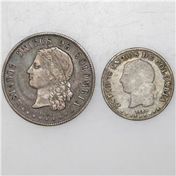 Lot of two Medellin, Colombia, 20 and 10 centavos, 1884 & 1885.