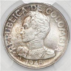 Bogota, Colombia, 50 centavos, 1948-B, PCGS MS62, ex-Dana Roberts (stated on label).
