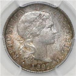 Bogota, Colombia, 20 centavos, 1897, PCGS MS64.