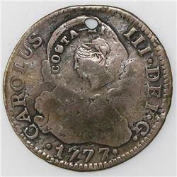 Costa Rica, 2 reales, Liberty head / ceiba tree double countermark (1845, Type III) on a Madrid, Spa