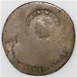 Costa Rica, 2 reales, Liberty head / ceiba tree double countermark (1845, Type III) on a Spanish col
