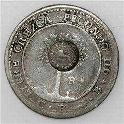 Costa Rica, 1 real, lion countermark (1849-57, Type VI) on a Central American Republic 1 real 1849JB