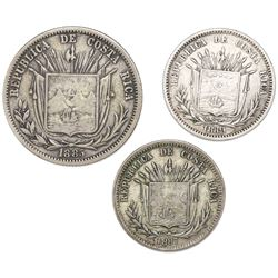 Lot of twelve Costa Rican minors: 50c 1885GW (no CB); 25c 1887GW (GW to right), 1889-HEATON BIRMM an