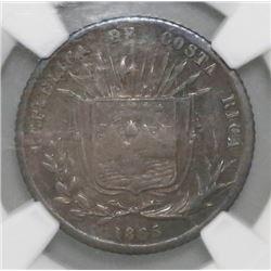 Costa Rica, 10 centavos, 1865GW, NGC XF 40.