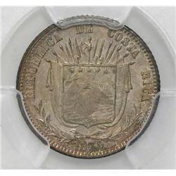 Costa Rica, 10 centavos, 1875GW, PCGS AU55, ex-Mayer (stated on label).