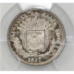 Costa Rica, 5 centavos, 1887GW, PCGS AU55.
